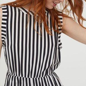 H&M Black and White Striped Romper - Size 4
